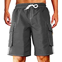 Dwar Men's Swim Trunks, Beach Shorts with Mesh Lining Watershort Swimsuit with Cargo Pockets