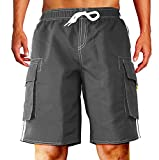 Dwar Men's Beachwear Board Shorts Quick Dry with Mesh Lining Swim Trunks(M, Gray)