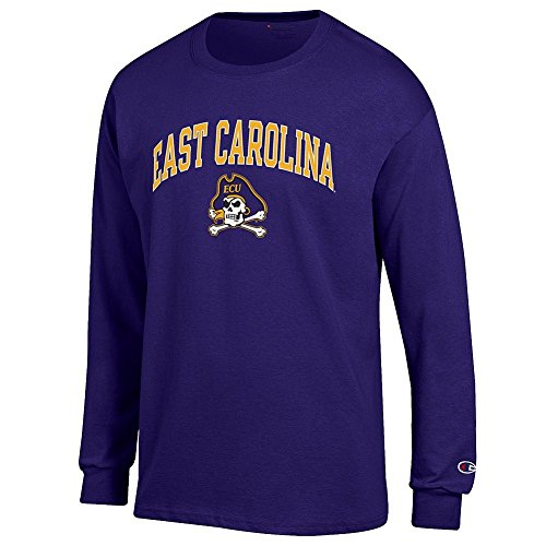Elite Fan Shop East Carolina Pirates Long Sleeve Tshirt Varsity Purple - L