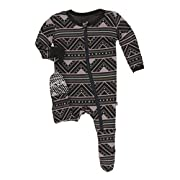 Kickee Pants Little Boys and Girls Print Footie with Zipper - African Pattern, 0-3 Months