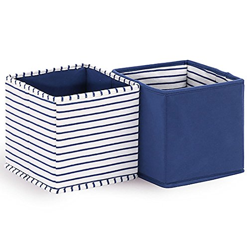 White Tote Stripe - Baby Nursery Storage Cloth Totes/Bins 2-Pack in White and Navy Blue Stripes and Solids - 7 Inch Collapsible Foldable Fabric Cubes for Nursery, Home, or Office Organizer