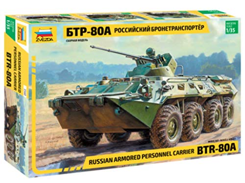 ZVEZDA 3560 - Russian Personnel Carrier BTR-80A - Plastic Model Kit Scale 1/35 231 Parts Lenght 8½