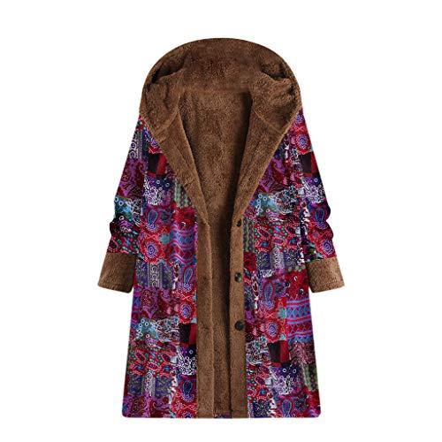 [해외]Long Sleeve Jacket for Women Fashion Winter Vintage Print Fleece Hooded Solid Color Button Plus Size Long Coat / Long Sleeve Jacket for Women Fashion Winter Vintage Print Fleece Hooded Solid Color Button Plus Size Long Coat