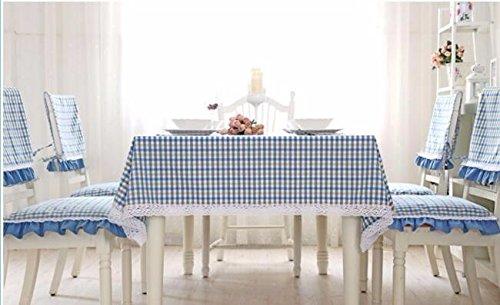 Tabgw Nappe rectangulaire salle à manger drap de coton couverture en tissu Garden Hotel Cafe Restaurant Accessoires pour la maison Style minimaliste bleu grille 90x90cm