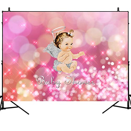 - Mehofoto Baby Shower Photography Backdrops Heaven Sent Angel Background 7x5ft Vintage Baby Girl Sliver Angel Wings and Halo Backdrop Newborn Birthday Party Vinyl Banner Decoration