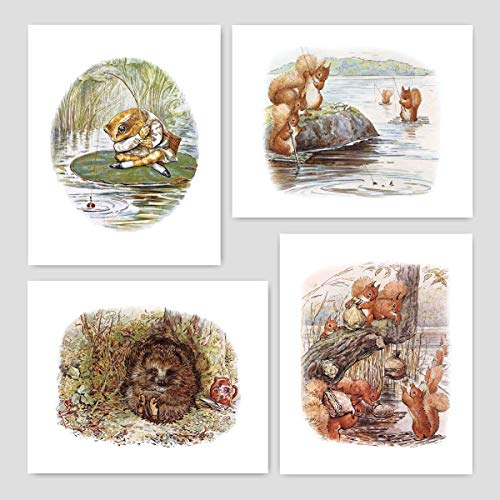 Beatrix Potter Prints (Nursery Art Boys, Peter Rabbit Wall Decor) Unframed 5x7 – Set of 4