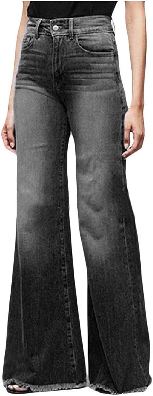 cheelot Women's Casual High Waisted Flare Bottom Pants Fashion Denim Jeans