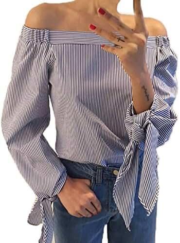 ZANZEA Women's Sexy Boho Striped Off Shoulder Long Sleeve Tops Blouse T Shirt