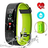 CHEREEKI Fitness Tracker, Smart Band IP68 Waterproof Heart Rate Monitor Smart Watch Activity Tracker with 14 Sport Modes, Sleep Monitor, Calorie Counter for Android & iOS (Black and Green)