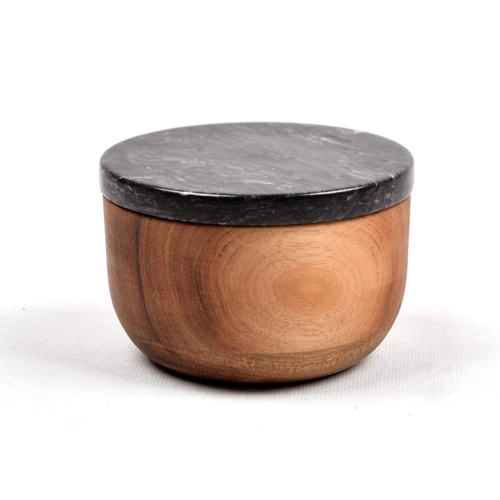 Salt Keeper with Lid, 100% Natural Walnut Salt Box Big Capacity Salt Sugar Container with Marble Lid