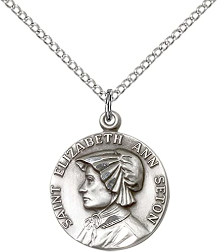Elizabeth Ann Seton Pendant with 18 Sterling Silver Lite Curb Chain Sterling Silver St Patron Saint of Loss of Parent or Child
