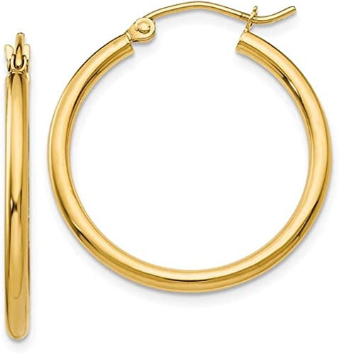 Women Hoops Gold 14K Gold Hoops Earrings Size 15mm 25mm Classic Hoop Earrings 2mm Wide 14K Yellow Gold Diamond Cut Hoop Earring Set