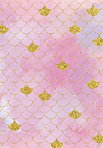 Pink Watercolor with Gold Trim Mermaid Scales Pattern Notebook: Lined Notebooks for Teen Girls and Young Women
