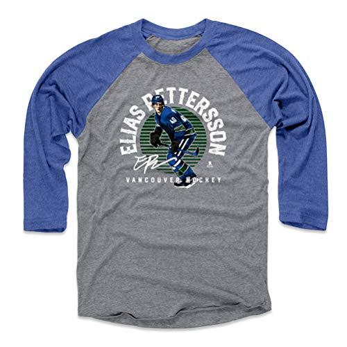 500 LEVEL Elias Pettersson Baseball Tee Shirt (Large, Royal/Heather Gray) - Vancouver Canucks Raglan Tee - Elias Pettersson Emblem G WHT