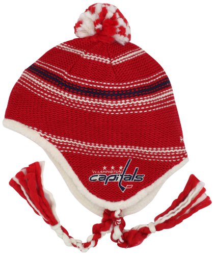 NHL Washington Capitals Tassle Knit Hat With Pom, Red/white/Blue,OSFA
