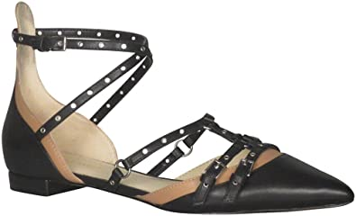 Nine West Frauen Aweso Spitzenschuhe Knoechel Riemen Leder Gleit Sandalen