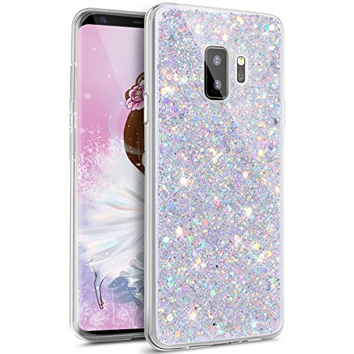 IKASEFU Bling Glitter Diamond Sparkle Luxury Crystal Rhinestone Soft TPU Silicone Rubber Bumper Case Cover Compatible with Samsung Galaxy S9,silver Beads Black Rubber Crystal Case