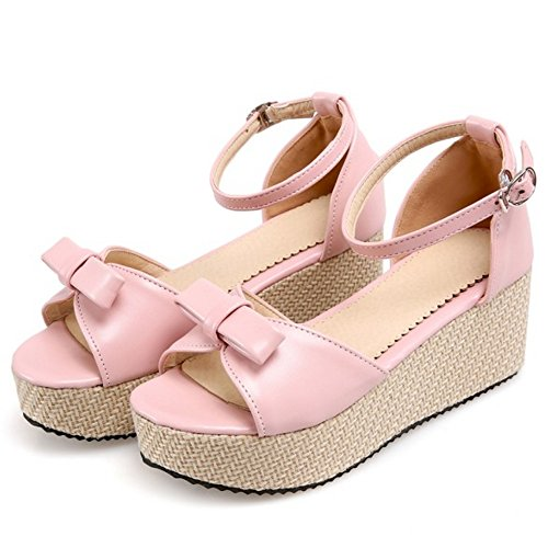 Flatform alla Cinturino Donna Pink 1 Caviglia Scarpe Sandali TAOFFEN FqPYSZwx