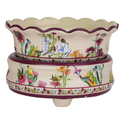 Ceramic Candle Warmer Birds and Wildflowers