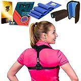 Posture Corrector for Women + Resistance Band for Fix Upper Back Pain – Adjustable Posture Brace for Improve Bad Posture | Thoracic Kyphosis Brace (Black)