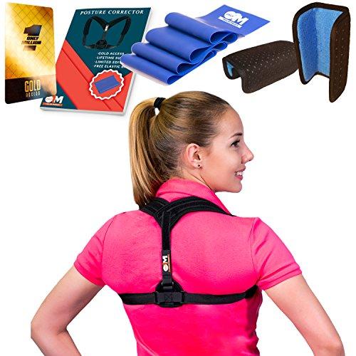 Posture Corrector for Women + Resistance Band for Fix Upper Back Pain – Adjustable Posture Brace for Improve Bad Posture | Thoracic Kyphosis Brace (Black) by Only1MILLION