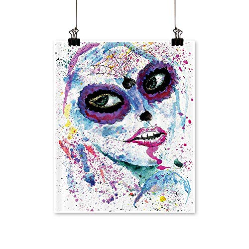 Canvas Prints Artwork Grunge Halloween Lady with Sugar Skull Make Up Creepy Dead Gothic Woman Artsy Artwork Wall,28