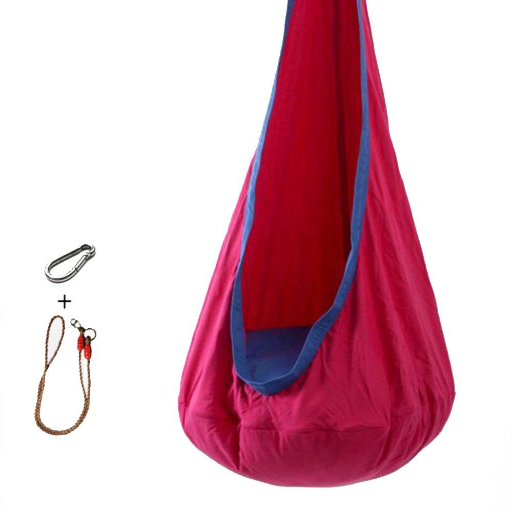 L&J カラフル 子 ハンモック,屋内 通気性 バルコニー 吊り椅子 屋外 パティオ レジャー スイング ベッド キャンプ ピクニック B07CVR7F57 A A