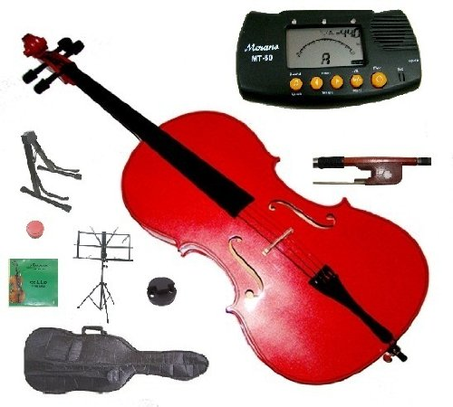 Merano 1/10 Size Red Student Cello with Bag and Bow+2 Sets of Strings+Cello Stand+Black Music Stand+Metro Tuner+Rosin+Rubber ()