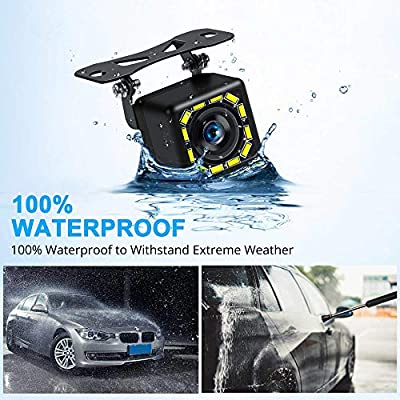Car Backup Camera, Rear View Camera Ultra HD 12 LED Night Vision,Waterproof Reverse Camera 140° Wide View Angel with Multiple Mount Brackets for Universal Cars,SUV,Trucks,RV and More: Car Electronics