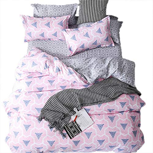 uvet Cover Set for Summer Blue Triangle Printed Bedding Sets Luxury and Comfort for Girls 3 Pieces(Twin Pink) ()