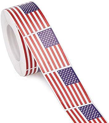 Patriotic USA Flag Sticker Roll 4 Rolls God Bless America Roll Stickers 400 Sticker Count 1.5 Sticker