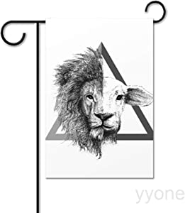 "yyone Garden Flag Yard Decor,Lion and Lamb Vertical Double Sided Outside House Decoration Decal Welcome Flag Seasonal Banners for Patio Lawn Outdoor Home Decor 28""x40"""
