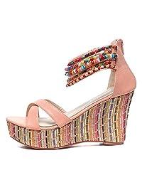 getmorebeauty Women's Wedge Sandals with Pearls Across The Top Platform Sandals High Heels Beige
