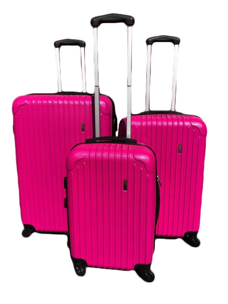 Ice Canada 3-Piece Luggage Set Spinner Suitcase Travel (Pink)