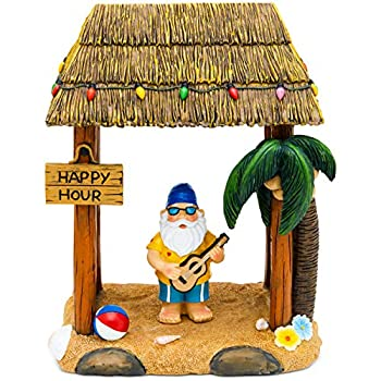 Garden Gnome Statue Home Outdoor Garden Lawn Funny Figure Tropical Great Gifts (Tiki Beach Party)