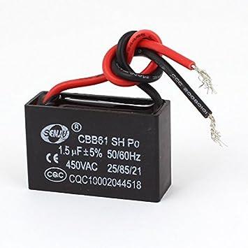 CBB61 AC 450V 1.5uF 2 hilos Terminal de techo del motor del ...