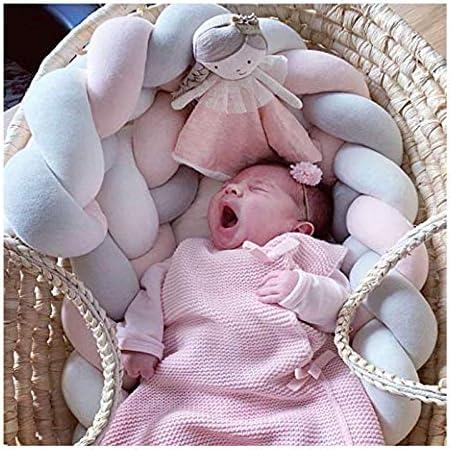 Bianco+Grigio+Rosa LFEWOX Cuscino Intrecciato Nodo Paracolpi Letto Treccia 3m Baby Intrecciato Culla Decorative e Protezione per Bambini e Animali per Lettino e Culla