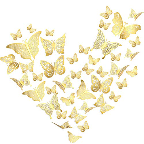60 Pieces three-D Butterfly Wall Decals Sticker Butterfly Decals Removable Butterfly Decorations Sticker DIY Butterfly Metallic Wall Stickers in 5 Styles for Home Nursery (Gold)