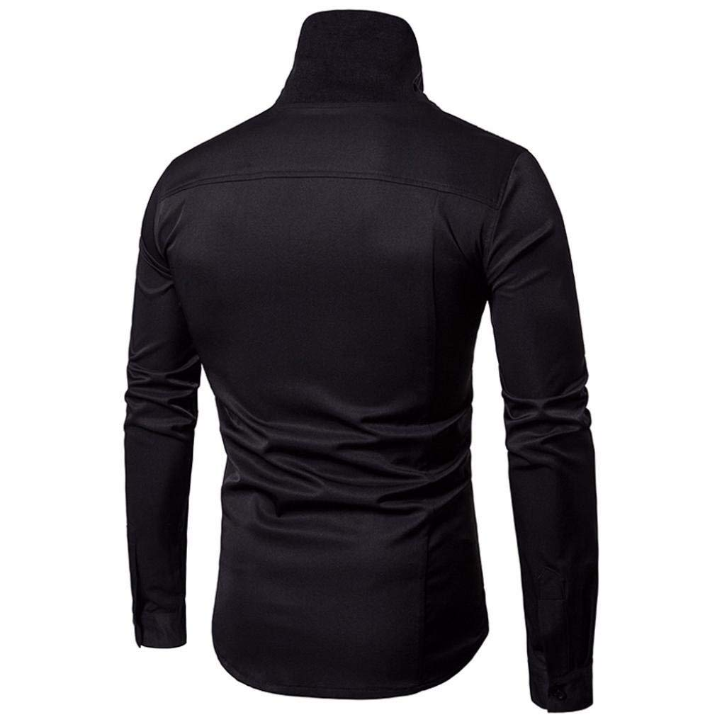 JaHGDU Men T-Shirt The Slim Fit Solid Long Sleeve Casual Button Shirts Formal Top Blouse Fashion Keep Warm Wild Tight for Men
