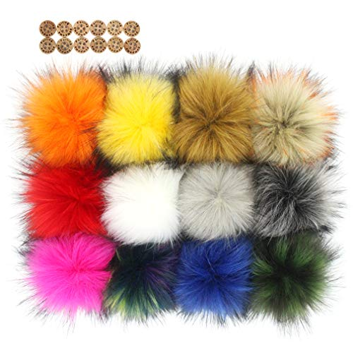 Fluffy Faux Fur Pom Pom - 12pcs Handmade Hairy Ball Pompom Fits for Knitted Garment Hats Scarves Shawls Key Chain Accessories 5.5 inches (Mix Colors)