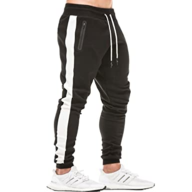 0ebd396ed317 EVERWORTH Men s Gym Workout Stripe Jogger Pants Slim Fit Tapered Sweatpants Running  Track Pants with Zipper