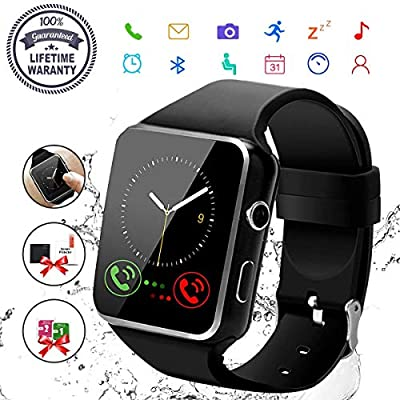 Robesty Smart Watch,Bluetooth Smartwatch Touch Screen Wrist Watch with Camera/SIM Card Slot,Waterproof Phone Smart Watch Sports Fitness Tracker Compatible Android Phones