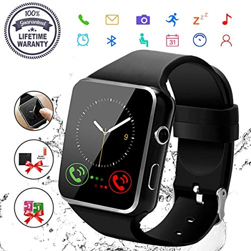 Smart Watch,Bluetooth Smartwatch Touch Screen Wrist Watch with Camera/SIM Card Slot,Waterproof Phone Smart Watch Sports Fitness Tracker Compatible Android - Wrist Watch Phone