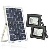 Solar Flood Lights with Remote,Moresun Dusk to Dawn 10W Dual 64 LEDs Solar Powered Led Security Floodlights for Flag Pole Garden Patio Business Sign Driveway