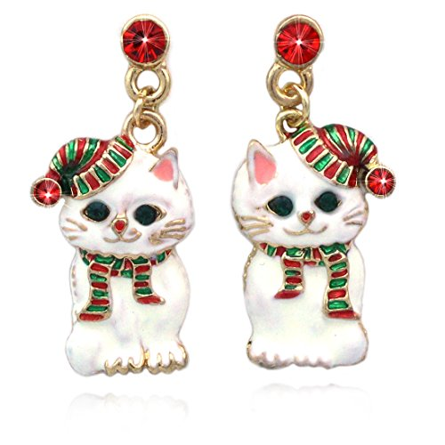 cocojewelry Santa Hat Kitty Cat Snowman Charm Dangle Post Earrings Christmas Jewelry (Santa ()