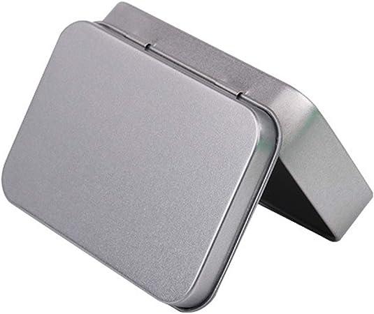 Ogquaton Metal Tin Silver Box Contenedores Portátil Caja de Almacenamiento pequeña Caja Organizador Almacenamiento en el hogar Creativo y útil: Amazon.es: Hogar