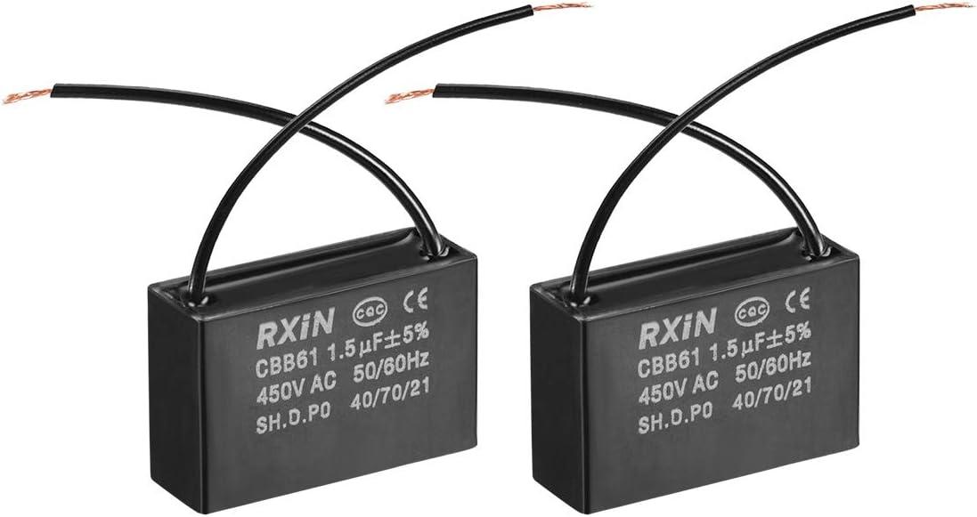 sourcing map CBB61 Run Capacitor 450V AC 1.5uF 2 Cables Capacitores de película de Polipropileno Metalizado para Ventilador de Techo 2pcs