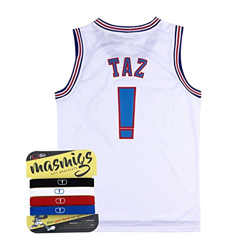 Halloween Taz ! White Space Jam jersey Basketball Jersey Include Free Wristbands (L/50) (Jersey Band)