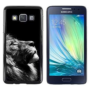 KOKO CASE / Samsung Galaxy A3 SM-A300 / foto del león mirando hacia arriba arte blanco negro / Delgado Negro Plástico caso cubierta Shell Armor Funda Case Cover