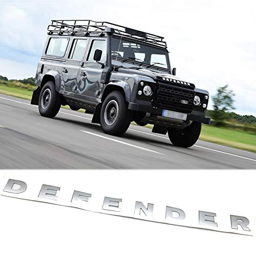 Xotic Tech Matte Silver Defender 3D Letter Logo Emblem Badge for Land Rover Front Hood Sticker - 3D 8-Letter Set